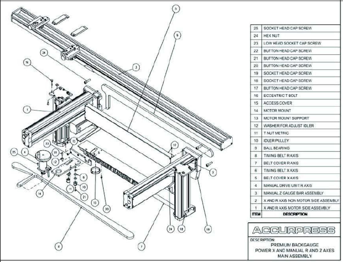 Accurpress Press Brake: Premium Backgauge Power X and Manual R and Z Axes  Main Assembly