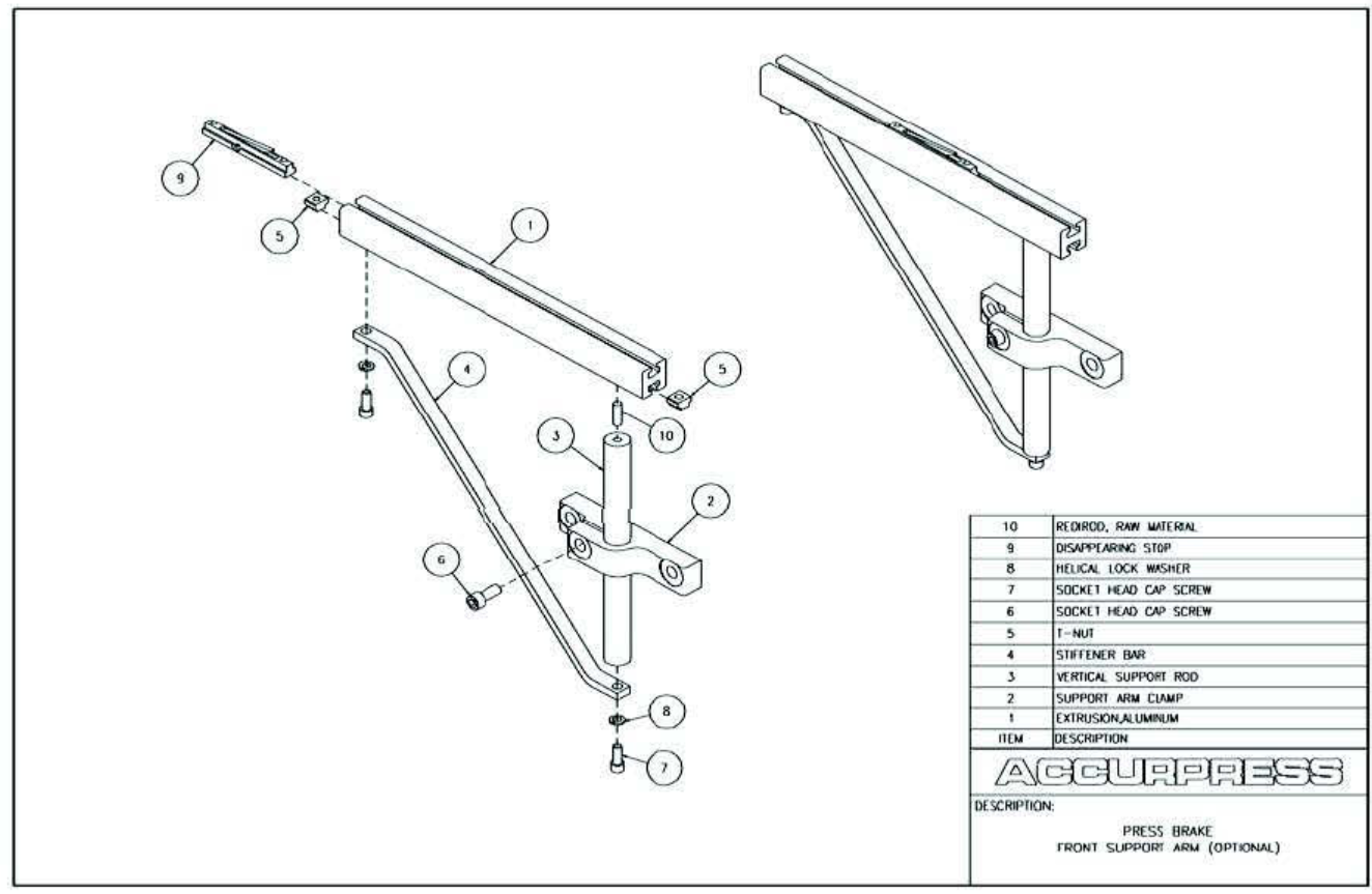 Press Brake Accurpress Parts And Assemblies Manual Simple Hydraulic How To Control Decompression In Front Support Arm Assembly Optional