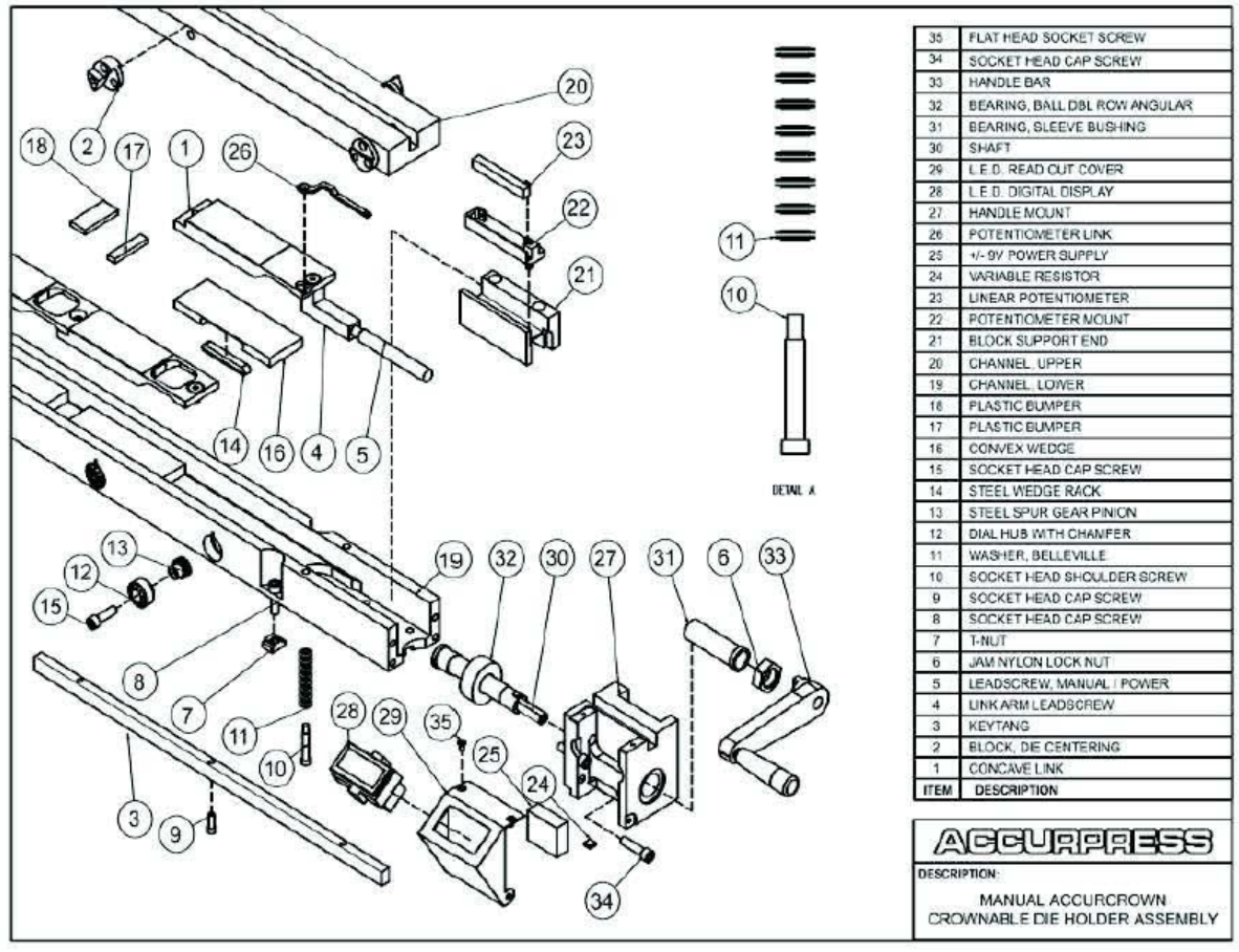 Press Brake Accurpress Parts And Assemblies Manual Simple Hydraulic How To Control Decompression In Accurcrown Crownable Die Holder Assembly