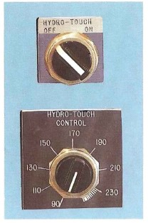 Hydro-Touch Control calibrated adjustment dial and on-off switch