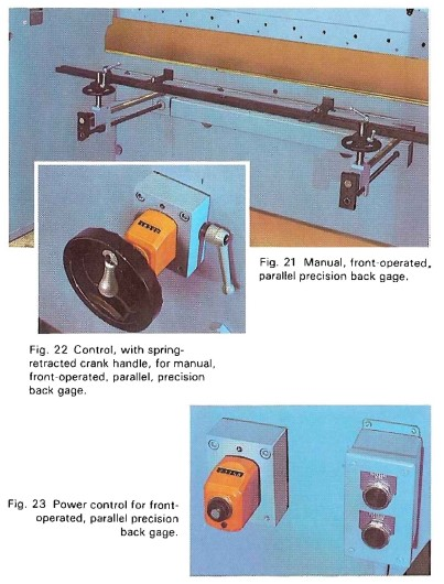 Manual, front-operated, parallel precision back gage and control, with spring retracted crank handle for manual front-operated, parallel precision back gage